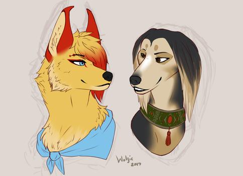 Clary and a dog doodle by BlackWolf4562
