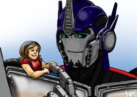 Lauren and Optimus for OnyxLeaderRogue-177 by jameson9101322