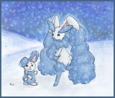 Arctic Buneary and Lopunny by Porcubird