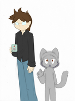 A HUMAN....and a Kitteh by SmilehKitteh