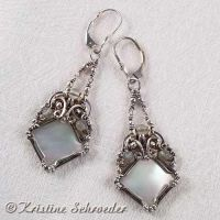 Samantha Earrings in Mother of Pearl by Wiresculptress