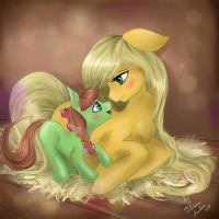 Applejack with daughter by Wilvarin-Liadon