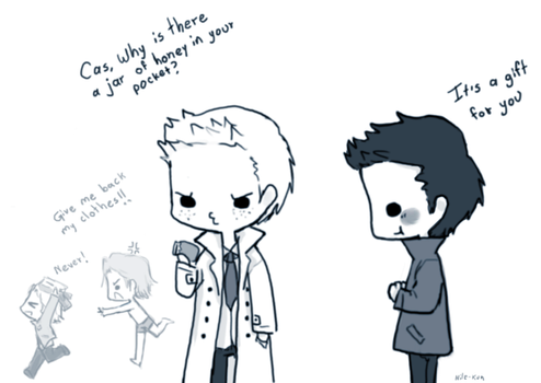 Day 6: Wearing each others' clothes  (Destiel) by Nile-kun