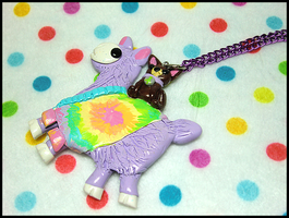 Purple Hippie Llama Necklace by GrandmaThunderpants