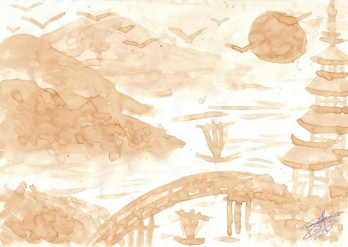 Asian Landscape - Coffee Paint by Crystal-Luna
