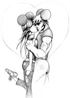 Micky and Minnie kissing by what-