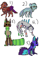 adoptables set 2 by PurplePepsiWolf
