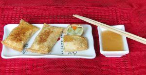 Cantonese Style Veggie Egg Rolls with Plum Sauce by Kitteh-Pawz
