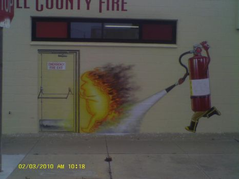 Fire Extinguisher chasing Fire to Fire Exit by MuralsbyLeBold