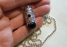 Black Filigree Bullet Pendant by mymysticgems