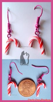 Clay Candy Cane Earrings by Talty