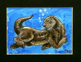Sea Otter ACEO by Foxfeather248