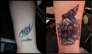 flowers cover up tattoo by thirteen7s