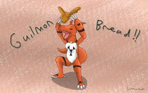 Guilmon Bread by Louisetheanimator
