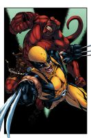 Hellboy and Wolverine by logicfun