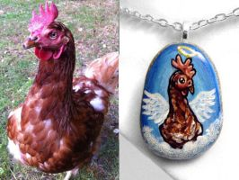 Custom Chicken Angel Pendant Necklace by sobeyondthis