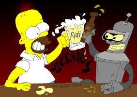 Homer and Bender by ANDREU-T
