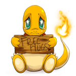 Transparent Charmander 'Free Hugs' Commission by SpagettiUrchin