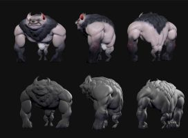 Stylized werewolf concept sculpt by Cok3ster