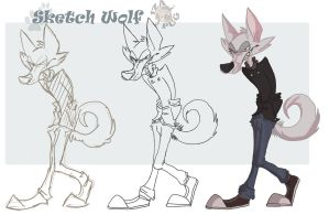 sketch cartoon wolf by IzaPug