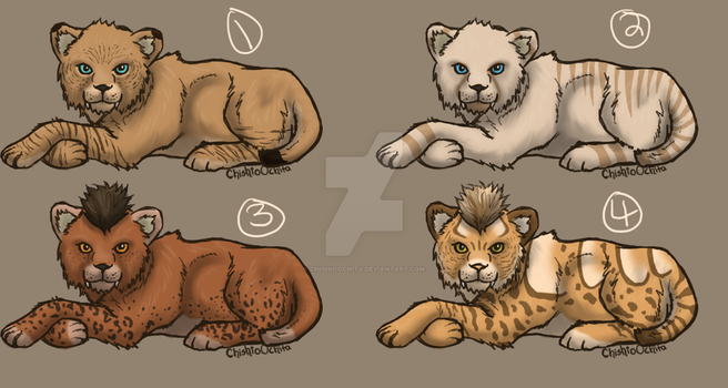 Adopts: Smilodon Cubs (Closed) by ChishioOchita