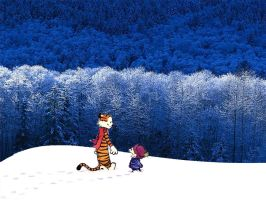 Calvin and Hobbes in the Snow by The-B-Meister