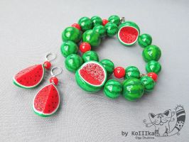 Earrings - Juicy Watermelon by polyflowers