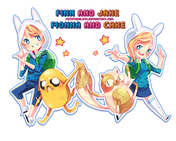 Adventure Time! with Finn, Jake, Fionna and Cake by Ozumii