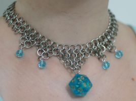 Blue Custom d20 Necklace by Utopia-Armoury