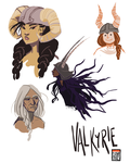 Valkyries Sketches by FionaCreates