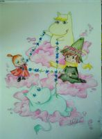 Moomins on the clouds :for my cousin: by IdaBlack