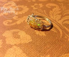 Yellow Stunning Opal Wire Ring by WireMoonJewelry
