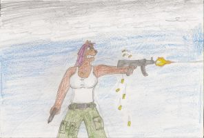 Beth with 2 Guns by Casey387