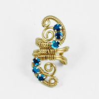 Blue and Gold Ear Cuff GIVEAWAY last day to enter by sylva