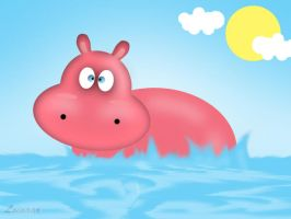 Bathing Hippo by Loinaar