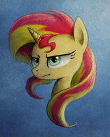 Sunset Shimmer Portrait by Hewison