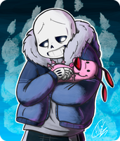 Sans and Courage by InfiniteTale00