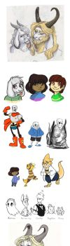 Undertale Sketchdump 2 by Earthsong9405