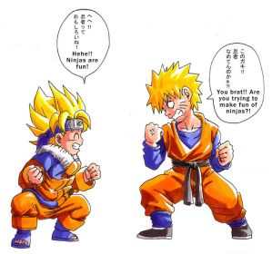 ♥*☆Manga/Anime/Game Characters that Look alike☆*♥  - Page 2 DBZ_Naruto__Happy_Halloween_by_Risachantag