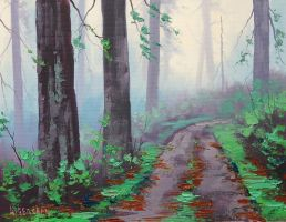 Misty Redwood Forest by artsaus