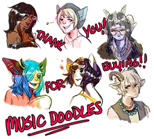 music doodles - batch 2 by alpacasovereign