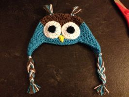 Crocheted Owl Hat by TombRaiderKuchen