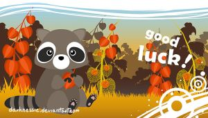 Little raccoon wishes you good luck! brown ver by DarkNessie