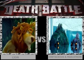 DEATH BATTLE: Lion vs Cretaceous and Maelstrom by HunterxColleen