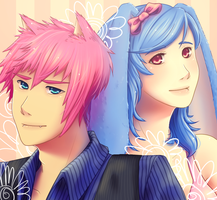 Pink and Blue Duo by elanorchuah