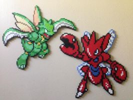 Scyther and Scizor perler by Birdseednerd