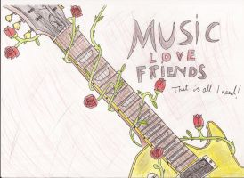 Guitar and roses by reoreoreo