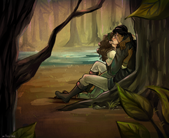 Commission for kytesandfairies: Daine + Numair by Minuiko