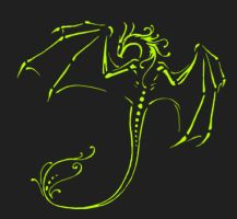neon green dragon by aerindreah
