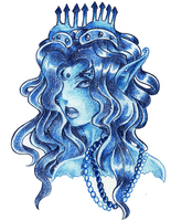 Ice princess-color pencil by BlackInfinity666